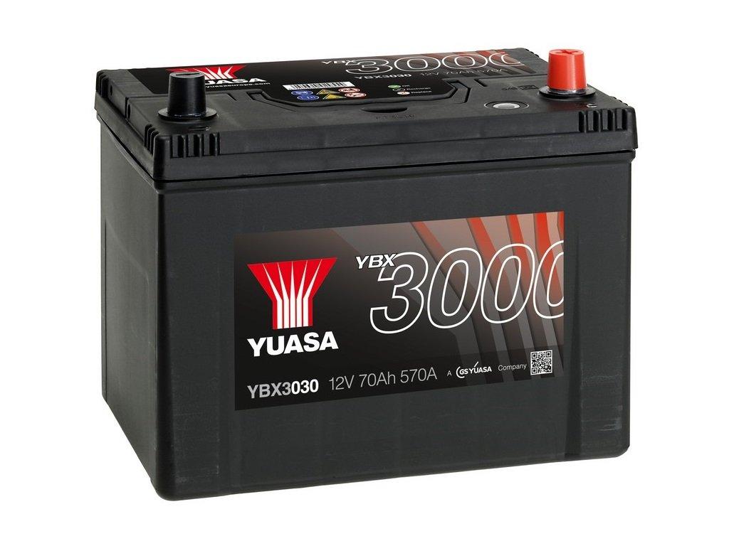 Yuasa YBX3030 Baterí a de coche SMF Starter recargable 12V 70Ah 570A GS Yuasa