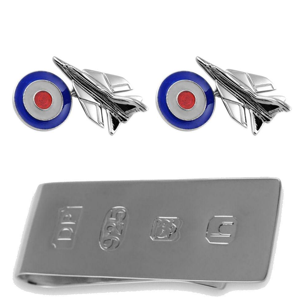 純銀製のジェット戦闘機と RAF 銘文 カフスボタン ジェームズボンドのお金クリップボックスセット B074RZWXQV