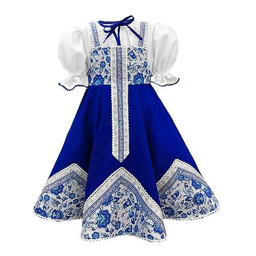 d410dd8ed Amazon.com: Russsian costume kokoshnik traditional dance costume blue Gzhel sarafan  folk clothing Slavic attire: Handmade