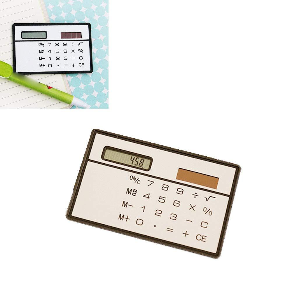 8 d/ígitos calculadora de bolsillo de la energ/ía solar calculadora de dise/ño ultra delgado delgado del mini tarjeta de cr/édito para la seguridad del Plata 1PC