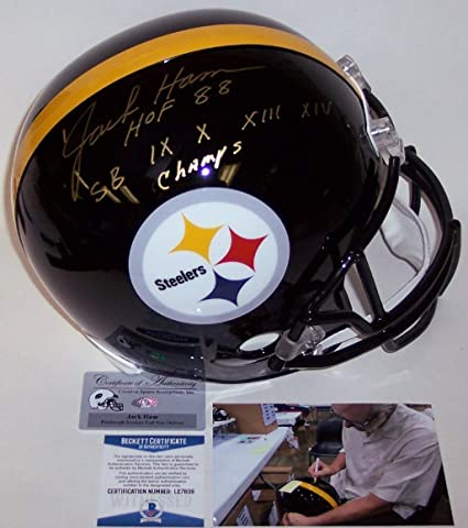 69a4b83a2 Jack Ham Autographed Hand Signed Pittsburgh Steelers Full Size Helmet -  with Hall of Fame and