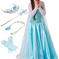 Timesun® Mädchen Prinzessin Schneeflocke Süßer Ausschnitt Kleid Kostüme Set aus Diadem, Handschuhen, Zauberstab und Zopf, 2-9 Jahre