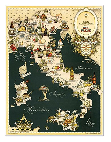 Antiguos Maps - The Gourmet Map of Italy - Carta Gastronomica de Bel Paese Circa 1949 - Measures 24 in x 32 in (610 mm x 813 mm)