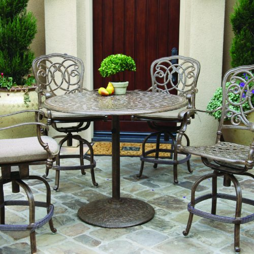 - Darlee Florence 5 Piece Cast Aluminum Patio Counter Height Bar Set With Swivel Bar Stools - Antique Bronze