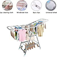 Cloth Drying Stand Rack Clothes Dryer Laundry Hanger Stand Folding 3 Tier 170cm Length with Rolling Wheel Foldable Stable Space Saving for Drying Clothing Indoor and Outdoor