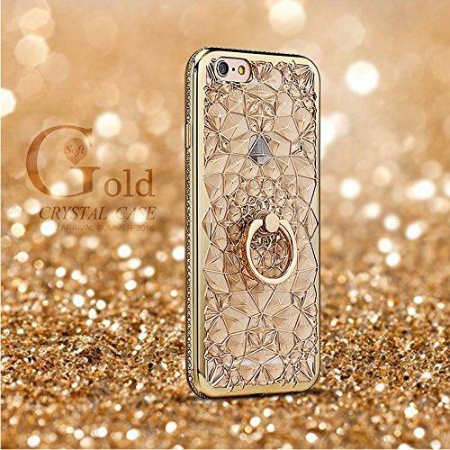 iPhone6ケース落下防止リング付き iPhone6S ケース バンカーリング付き (ゴールド)