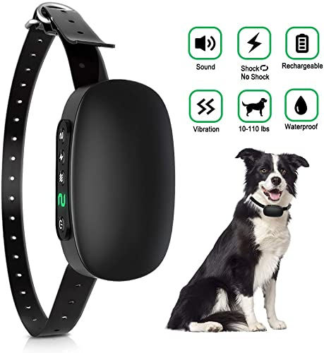 AERZETIX Dog Bark Collar, Rechargeable Anti Barking Collar for Small Medium Large Dogs, Adjustable Training Collar Rainproof Sound Vibration Automatic 7 Levels Shock Modes – 2020 New Upgrade