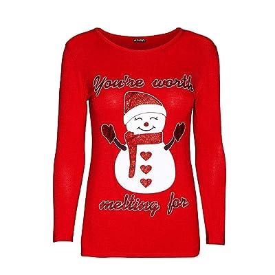LILICAT☃ Top de Manga Larga Casual con Estampado de Letras de Copos de Nieve de Elk de Navidad Jingle Bell Letter Printed Sweatshirt Pullover Blouse T-Shirt: Ropa y accesorios