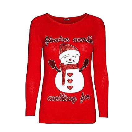 057c964477edf Christmas Women Sweatshirt Snowman Print Tunic Tops Pullover Blouse T-Shirt  (Red