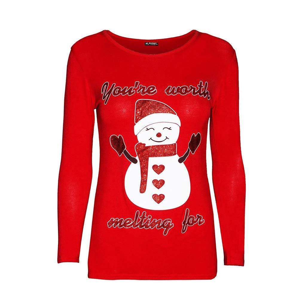 0ff298709e5cc7 high-quality GreatestPAK Weihnachten, Einfarbig Pullover Damen süße  Schneemann Print Tops Sweatshirt Bluse T