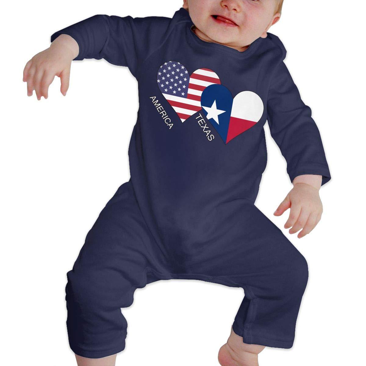 UGFGF-S3 America Texas Flag Heart Toddler Baby Long Sleeve Bodysuit Infant Romper Jumpsuit