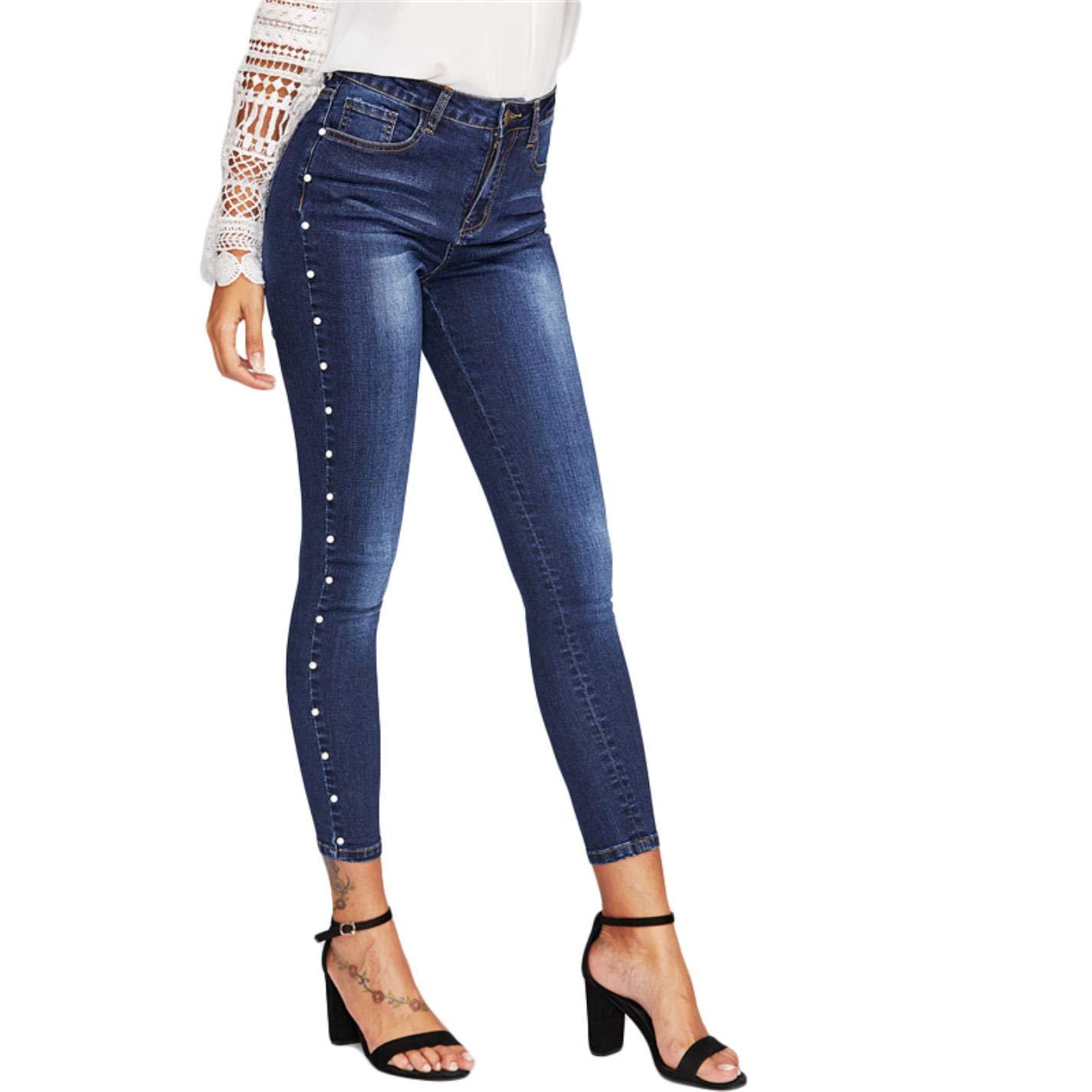 BxjkaEWA Womens Skinny Pearl Beaded Jeans Mid Waist Zip Casual Pants