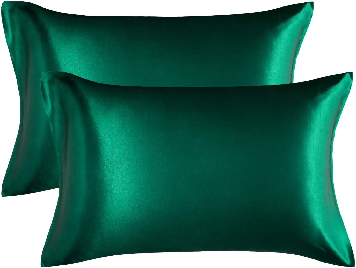 Bedsure Satin Pillowcase for Hair and Skin, 2-Pack - Standard Size (20x26 inches) Pillow Cases - Satin Pillow Covers with Envelope Closure, Dark Green