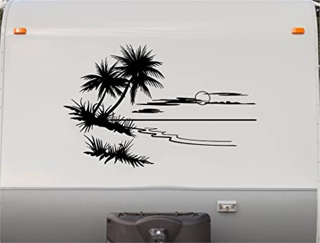 Amazon Com Beach Sunset Palm Trees Rv Camper Vinyl Decal Sticker