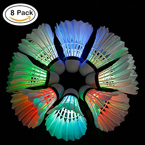 8 Pack ZN LED Badminton Shuttlecocks Lighting Birdies Shuttlecock Glow in the dark badminton for Indoor/Outdoor Sports Activities ,8-Piece