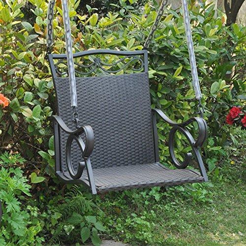 International Caravan Valencia Resin Wicker Porch Swing Black