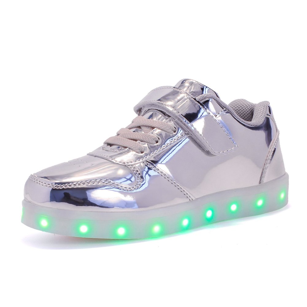 Kuuland Kids LED Light Up Low-top Shoes Boys and Girls Flashing Sneakers Child Unisex Silver,US3/EU35