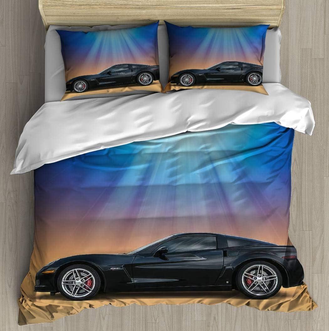 "Duvet Cover Set Black C6 Bedding Set Microfiber Comforter Cover with Zipper Closure, Bed Quilt Cover Pillow case for Girls Boys, 68""x85"""