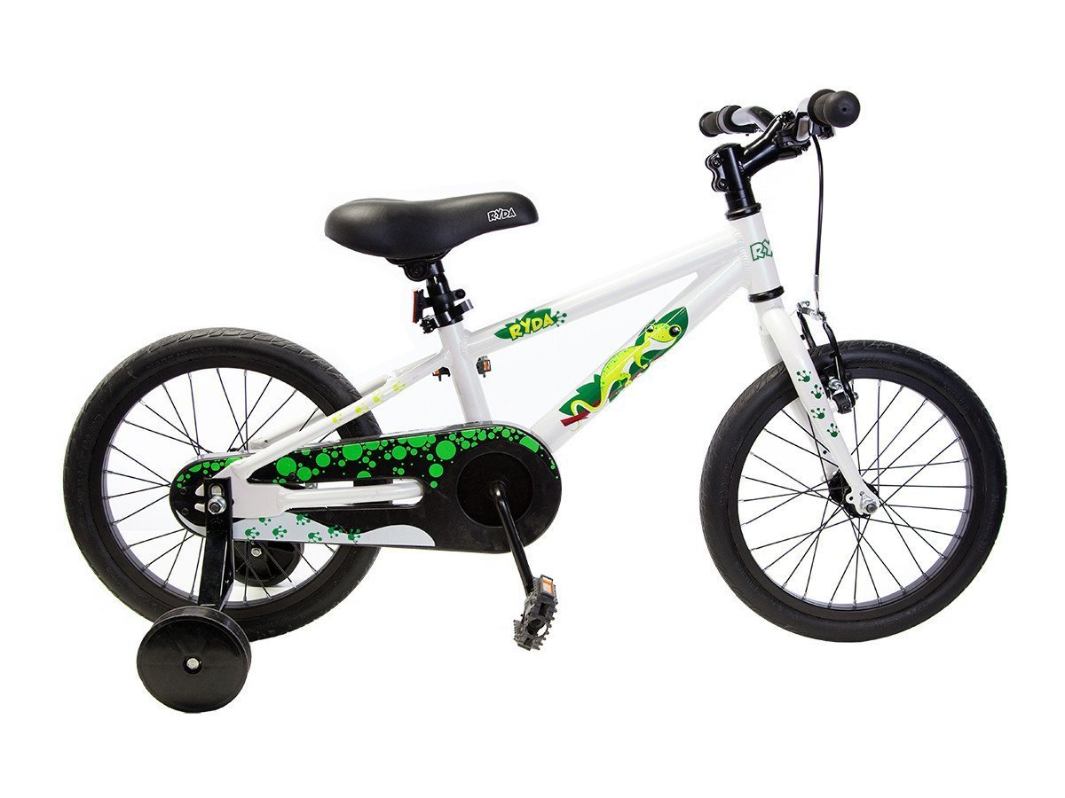 Ryda Bikes Adventurer - 16'' White Toddler Kids Bike with Training Wheels and Flat Proof Bicycle Tires