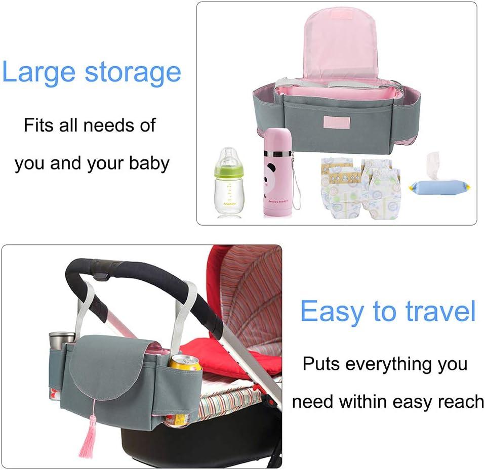 Fit All Buggy Models Pink Tassel Baby Buggy Organiser Stroller Pushchair Organiser with 2 Cup Holder faddy-1 Pram Organiser Buggy Storage Bag