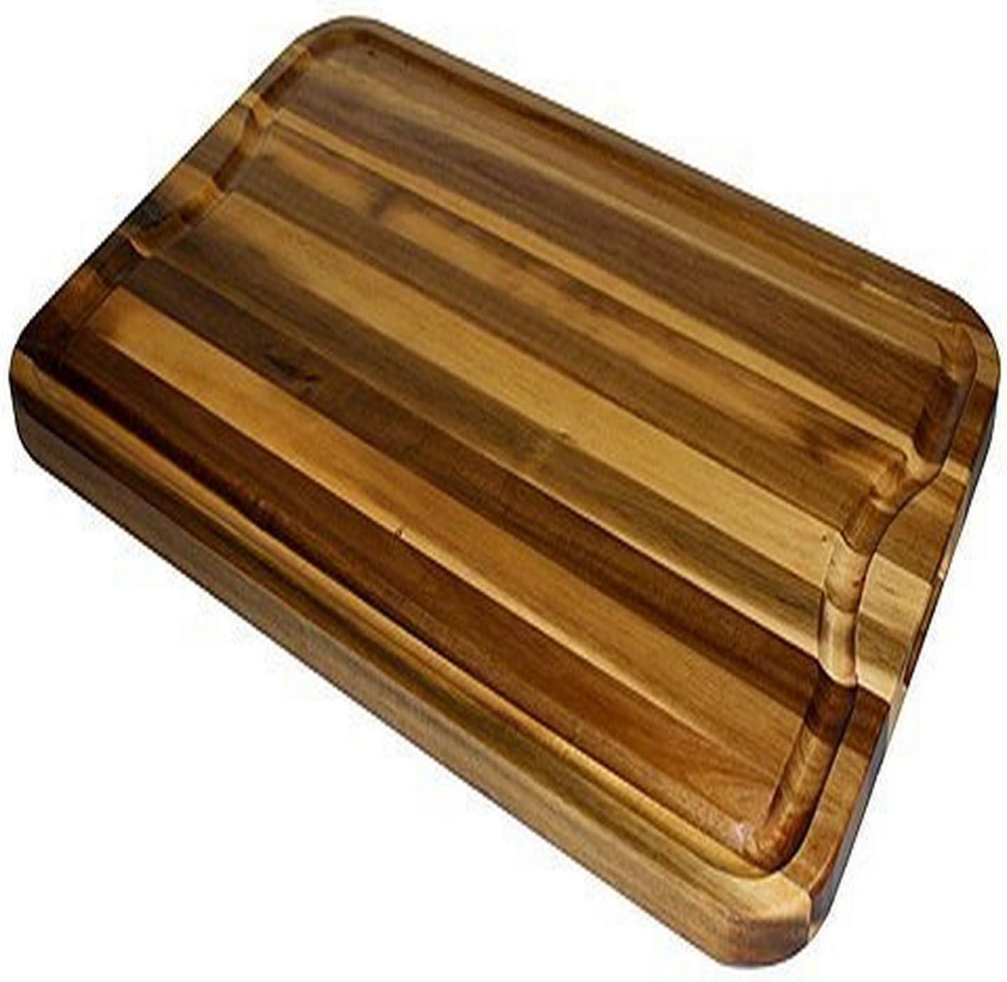 "Mountain Woods Natural bamboo Brown Organic Edge-Grain Hardwood Acacia wooden Cutting Board w/Juice groove - 24"" x 16"" x 1"""
