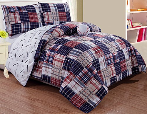 GrandLinen 4 – Piece Kids Queen Size Baseball Sports Theme Comforter Set with Plush Toy Included-Navy Blue, Red, White and Beige Plaid. Boys, Girls, Guest Room and School Dorm, Dormitory Bedding