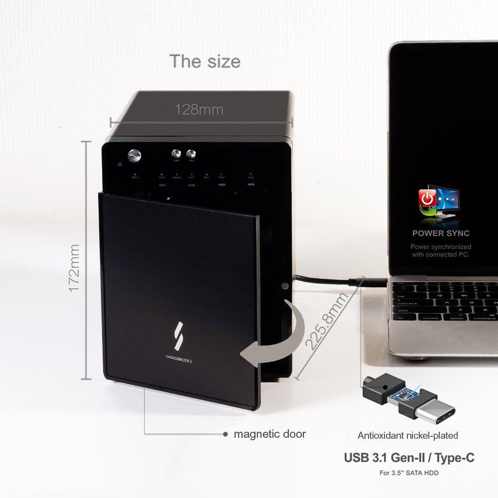 "Mediasonic USB 3.1 4 Bay 3.5"" SATA Hard Drive Enclosure – USB 3.1 Gen 2 10Gbps Type C / USB-C (HF7-SU31C) – Certified Refurbished by Mediasonic (Image #4)"