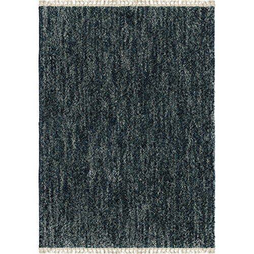 """Orian Rugs Bedouin Collection 5003 Solid Area Rug with Fringe, 7'10"""" x 10'10"""", Indigo"""