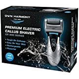 Electric Hard Skin Remover For Men by Own Harmony - USA's Best Rated Callus Remover - Rechargeable Pedicure Tools w/ 3 Micro Diamond Rollers (Reg. & Extra Coarse) - for Velvet Smooth Foot Care - Professional Spa Pedi Feet File (UK Plug)