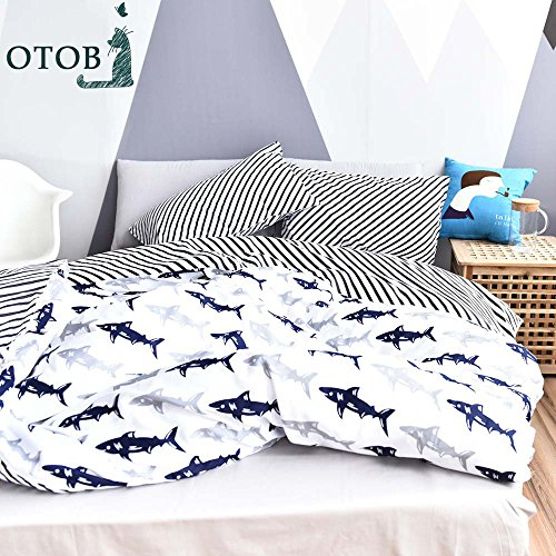 ORoa Cute Kids Students Bedding Set 3 Pieces Reversible Cartoon Fish Shark Striped Pattern Duvet Cover for Boys White Black 100% Cotton Queen Full Size (No (Black Fish Set)