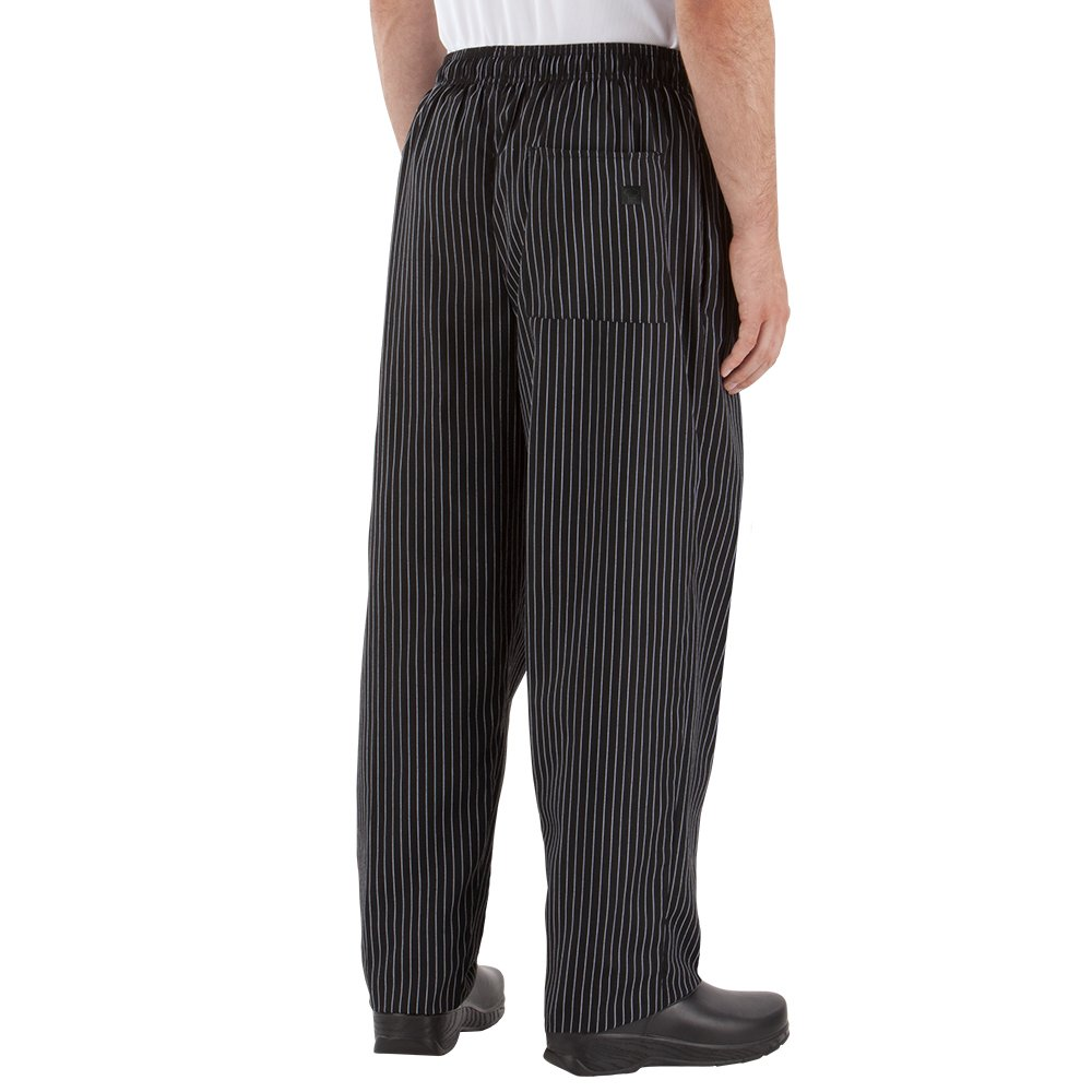 Happy Chef Poly Cotton Print Baggy Pants, Large, Black Pinstripe