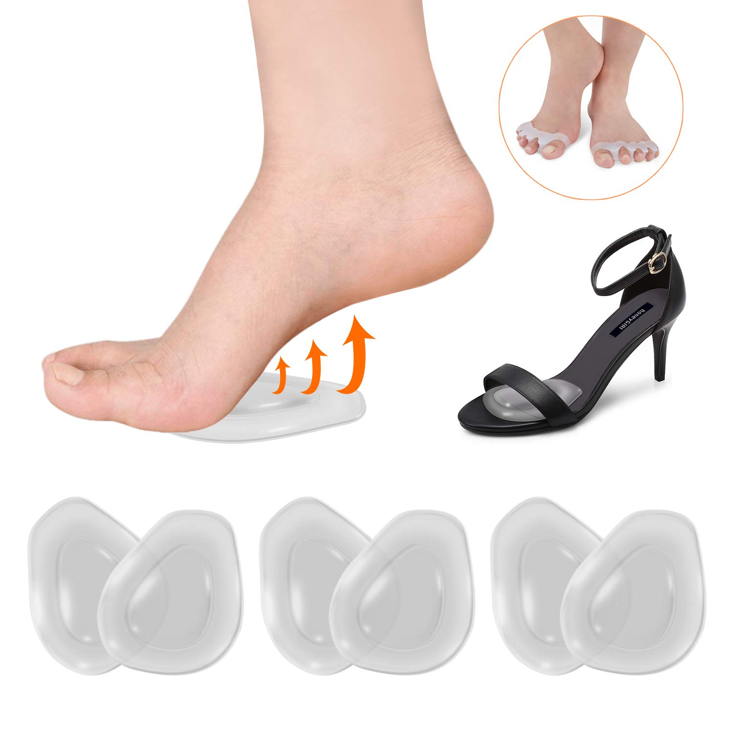 6 Pcs Ball of Cushions with 2 Pcs Toe Separator Non-Slip & Comfortable Metatarsal Pads Self-Sticking Women Shoe Inserts for Pain Relief from Neuroma, Metatarsalgia & Forefoot
