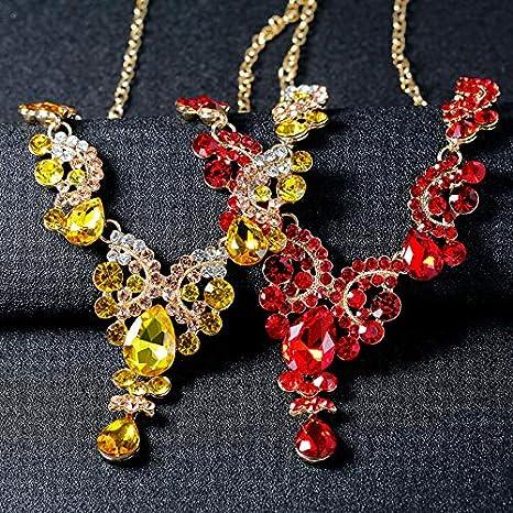Amarillo Scrox 2pcs Juego de Joyas Mujeres Novia Joyer/ía Conjunto Rhinestone Collar Pulsera Anillo Pendientes