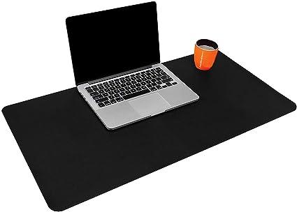 Sous-main en cuir PU pour bureau et ordinateur portable 70x40cm Noir