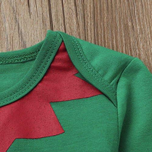 Pantalones con Rayas Traje de Navidad Mameluco de Manga Larga de Navidad Verde Sombrero Xmas Ropa Bebe Reci/én Nacido de Navidad 6-24M MYONA 3 Piezas Conjuntos de Ropa Beb/é de Navidad