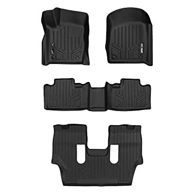 SMARTLINER Custom Fit Floor Mats 3 Row Liner Set Black for 2016-2020 Dodge Durango with 2nd Row Bucket Seats: Automotive