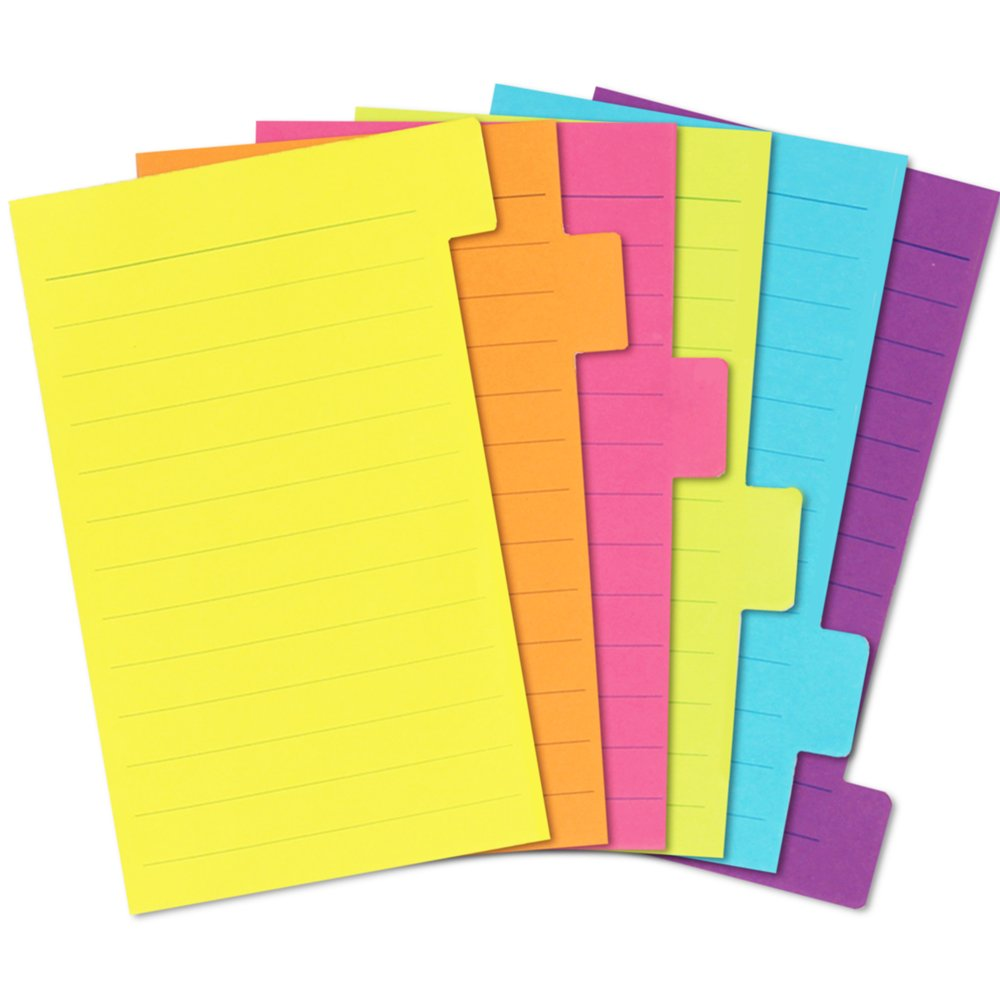 4 Pack Divider Sticky Notes, Total 360 Ruled Lined Notes,School & Office Supplies,Sticky Journals Page Tabs,4 x 6 inches,Assorted Neon Colors by KIZZYEA (Image #2)