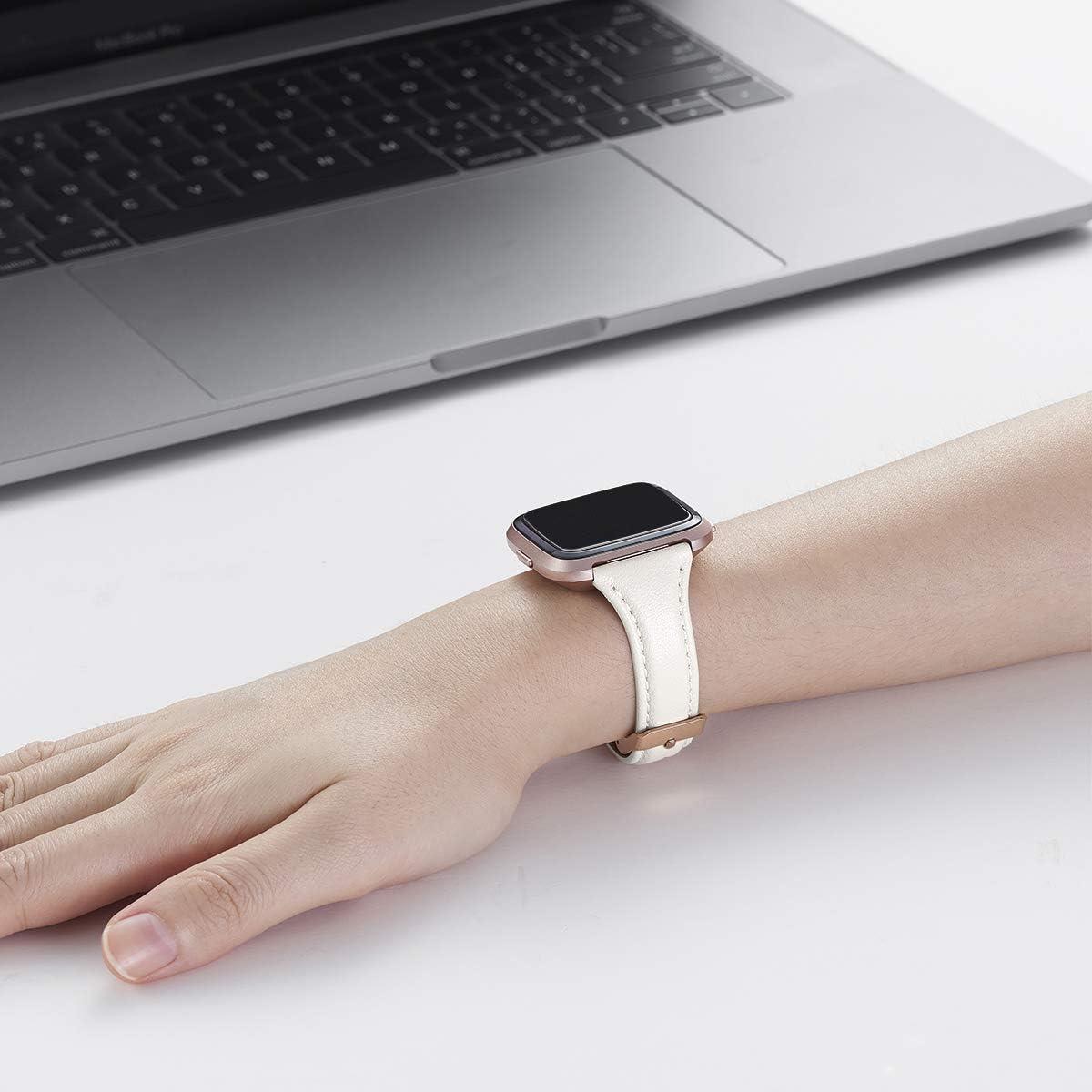 Slim Blanc+Boucle Argent Slim Bracelet de Remplacement en Cuir Souple Compatible pour Fitbit Versa//Fitbit Versa 2//Versa Lite//Se Fitness Smart Watch, WFEAGL Compatible Bracelet Fitbit Versa