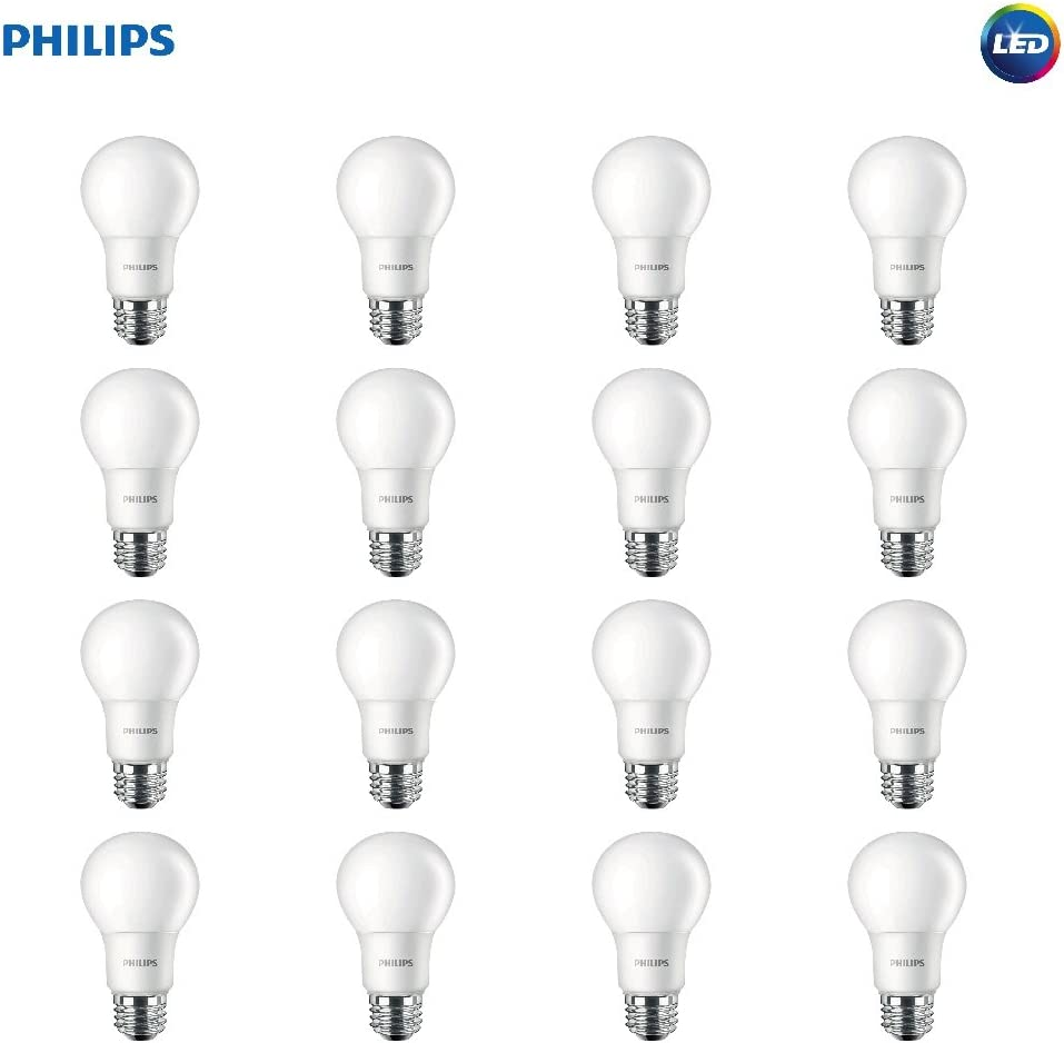 Philips LED Non-Dimmable A19 Frosted Light Bulb: 450-Lumen, 2700-Kelvin, 5.5-Watt (40-Watt Equivalent), E26 Medium Screw Base, Soft White, 16-Pack