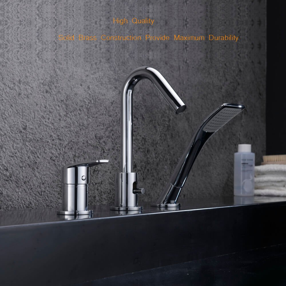 Bathtub Faucet with Pull Out Spray Head, SURNORME Single Handle ...