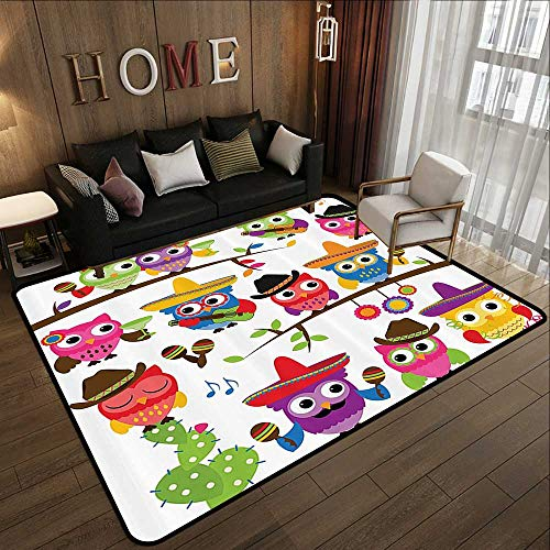 (Bath Rugs for Bathroom,Owls Home Decor Collection,Collection of Cowboy Owls with Hats Guitars Cactus Cinco de Mayo Design,Blue Green Orange Red 59