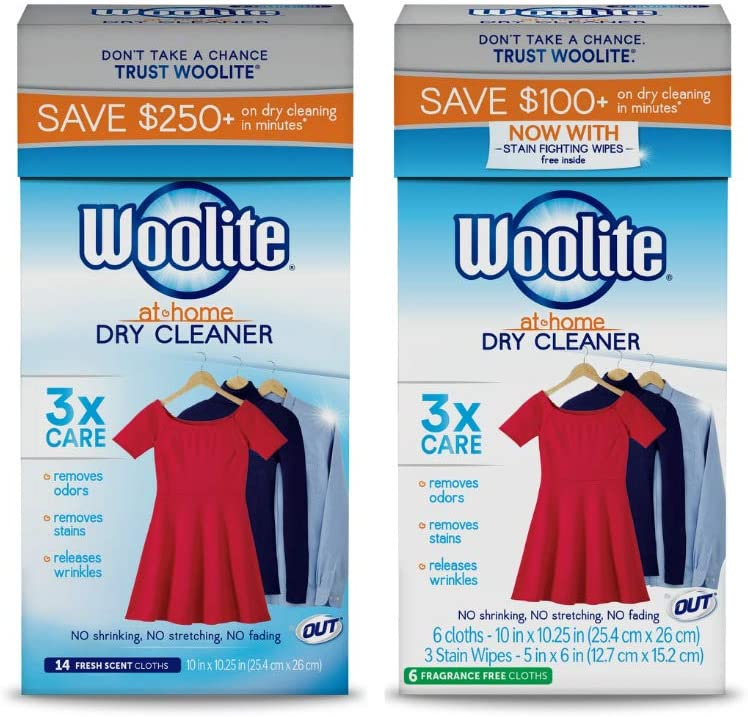 Woolite At Home Dry Cleaner, 14 Fresh Scent, 6 Cloths Fragrance Free