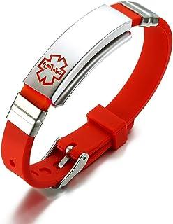 VNOX Free Engraved Stainless Steel Silicone Medical Alert ID SOS Adjustable Bracelet for Men Women Vnox Jewelry BS-049O-Med