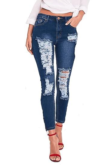 c9dde56674acf Jeans femme skinny Jeans femmes bleu pantalon en jeans,TieNew Destroyed  Ripped jeans déchirés femme