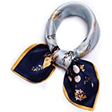 """100% Pure Mulberry Silk Scarf -21"""" Lightweight Small Square Neckerchief – Breathable Digital Printed Scarves with Gift Packed"""