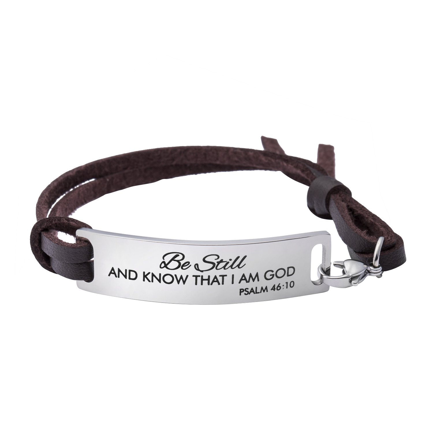Yiyang Inspirational Leather Bracelet for Women Christian Engraved Bibler Verse Silver Stainless Steel Jewelry Birthday Jewelry Gifts Be Still and Know I Am God Brown