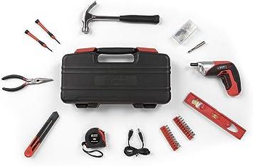 WOLFGANG Caja de herramientas completa, 73 piezas, Maletín con Mini Taladro Atornillador Inalámbrico 3.6 V, Juego de tornillos y tuercas, martillo, nivel, cortador, calibrador, cinta métrica: Amazon.es: Bricolaje y herramientas
