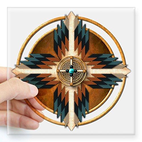 CafePress Native American Mandala 02 Square Sticker 3 X 3 Square Bumper Sticker Car Decal, 3