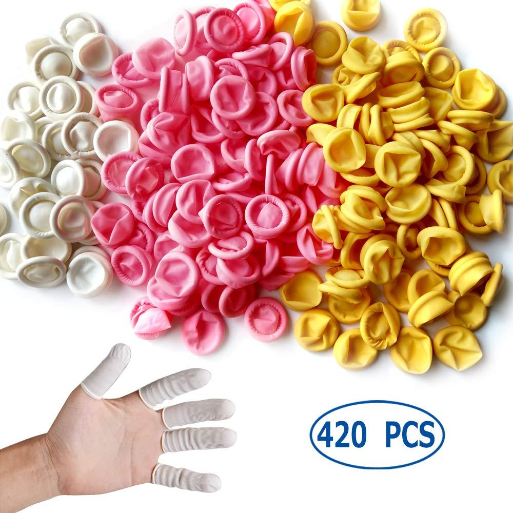 Glittery 420 PCS Disposable Latex Finger Cots,Anti-Static Rubber Fingertips Protective Finger Cots ... (420MC)