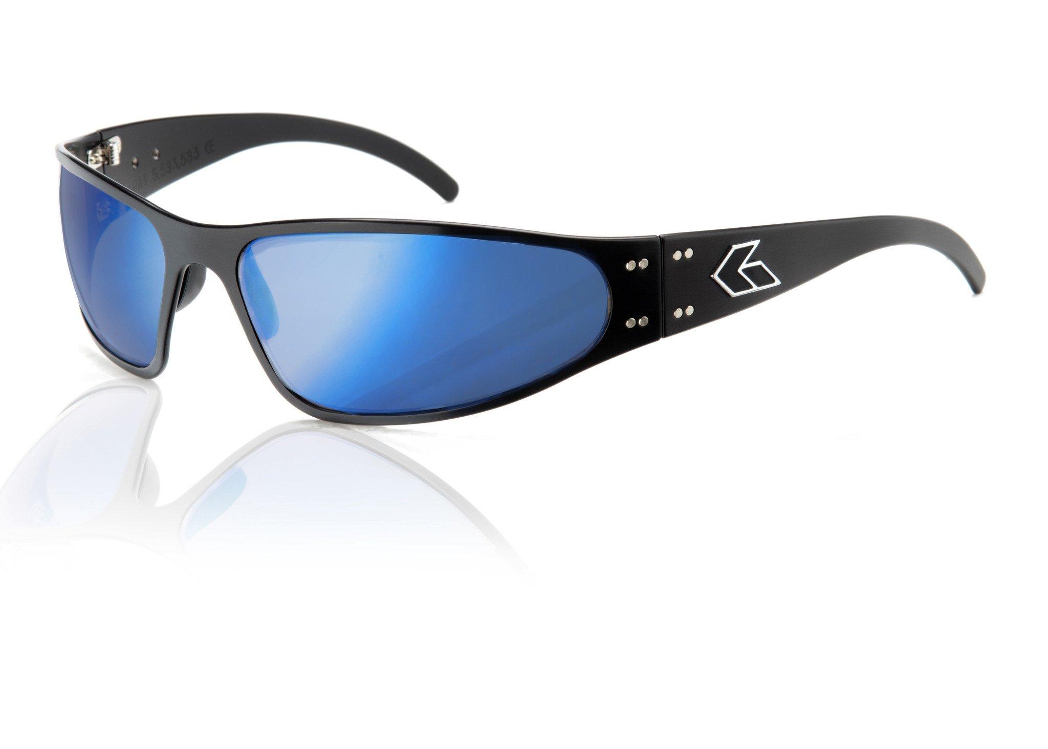 Gatorz Eyewear, Wraptor Model, Aluminum Frame Sunglasses - Black/Smoked w/Blue Mirror Lens by Gatorz